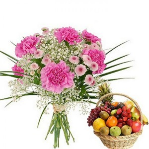 A combo gift of carnation flowers and fruits basket