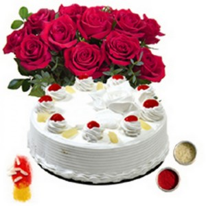 ineapple cake and a bunch of red roses