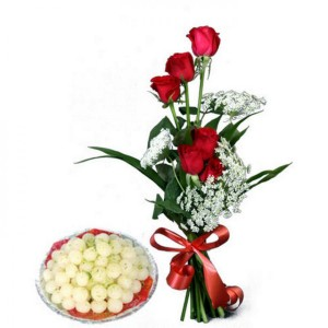 Red roses and Rasgullas