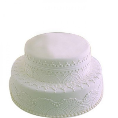 two-tier vanilla or chocolate cake