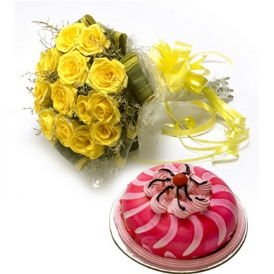 yellow roses with a strawberry cake