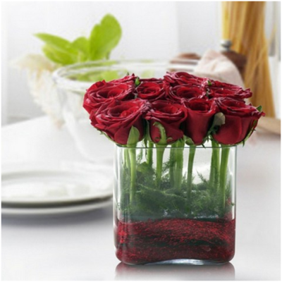 red rose stems